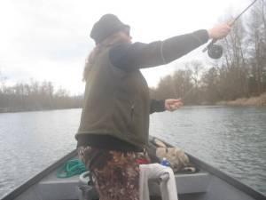 Teri enjoys casting her Sage rod.