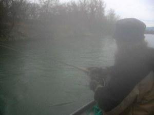 Teri battles a fiesty cutthroat trout