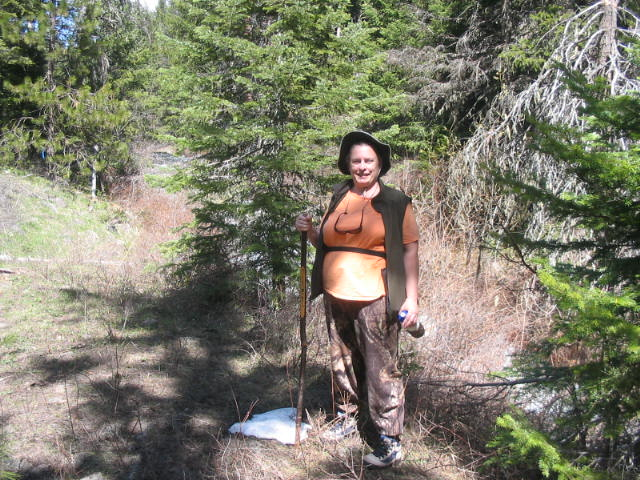 Teri with her hiking stick