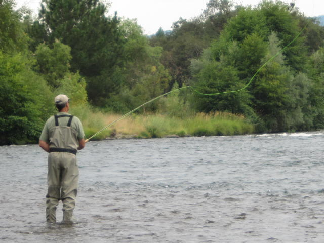Casting the long rod for Rogue River steelhead.
