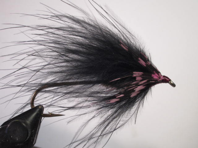 Black Marabou Steelhead Fly tied on a large, down-eye streamer hook.