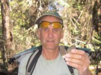 Here I am looking a little surprised finding a linked morel (attached at the stem.)